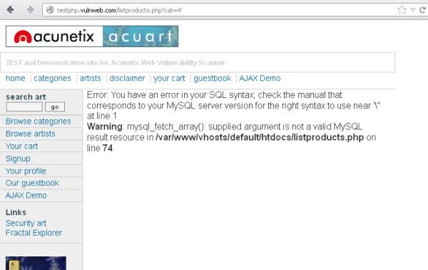 Attacco di tipo SQL Injection possibile