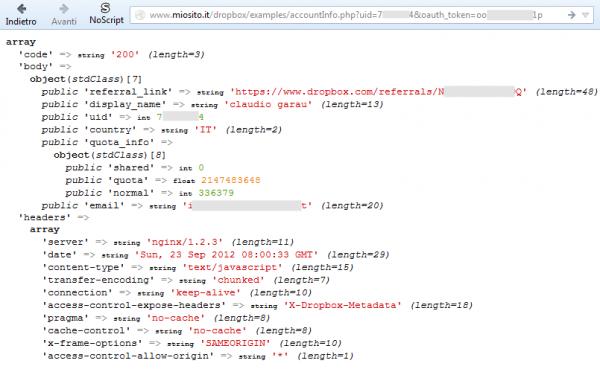 Esecuzione del file accountInfo.php