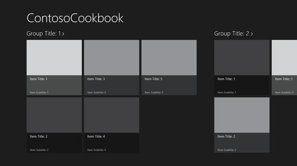 La start page dell'applicazione Contoso Cookbook