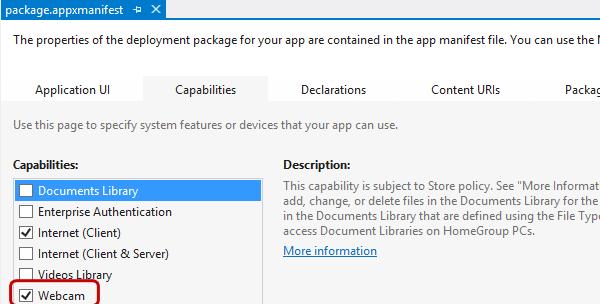 Permettere l'accesso alla webcam nel manifesto dell'applicazione