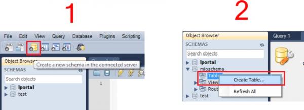 mysql workbench create schema/table