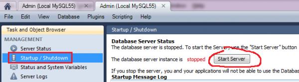mysql workbench startup/shutdown