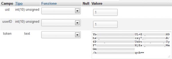 Memorizzazione del Token in tabella