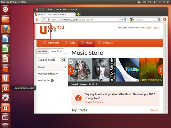 Ubuntu One Music, accessibile direttamente dal launcher di Unity