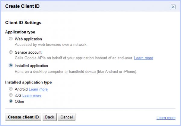 creazione del Client ID