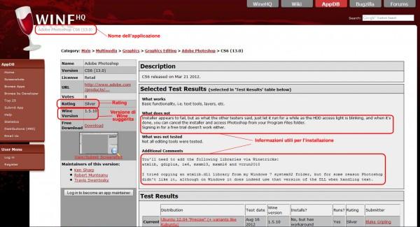 La pagina di Adobe Photoshop CS6 sull'AppDB: in evidenza alcune informazioni essenziali