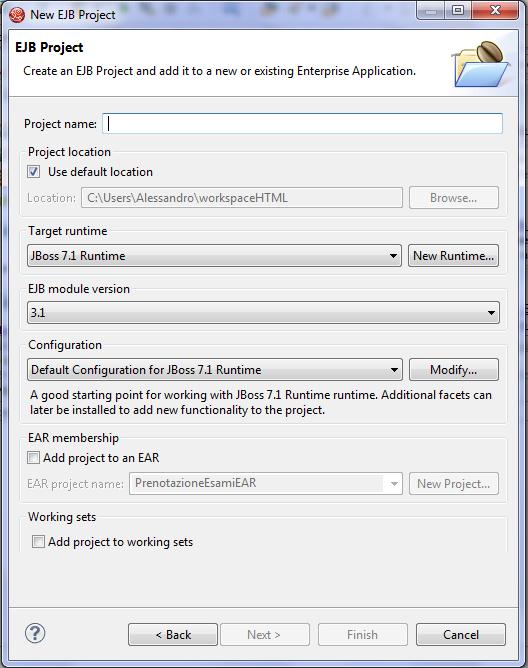 configurazione per EJB