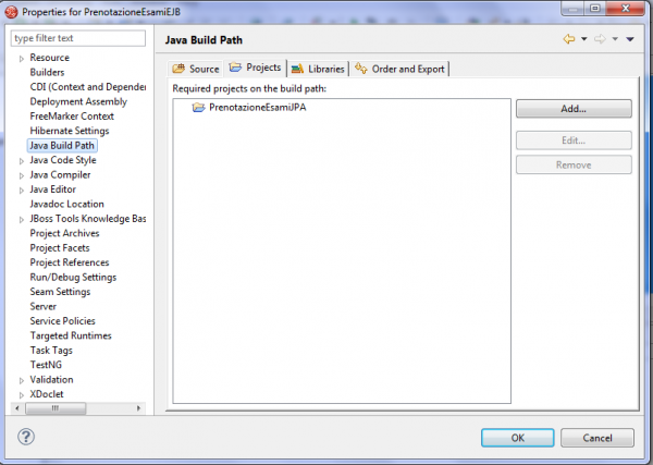 java build path per il progetto EJB