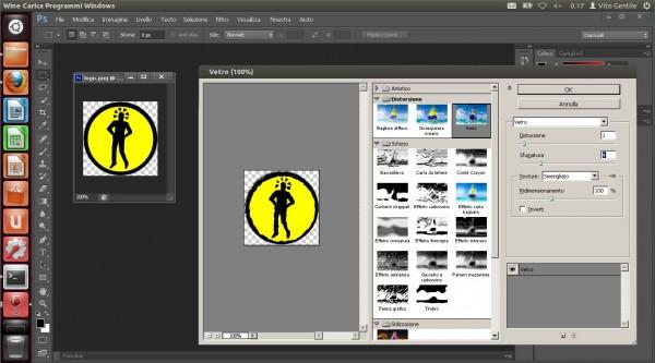 Adobe Photoshop CS6 sul desktop di Ubuntu 12.04