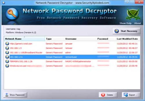 Network Password Decryptor