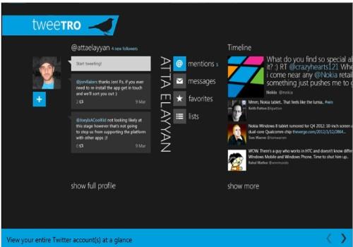Tweetro per Windows RT