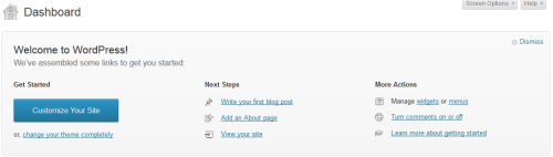 Figura 1. Nuova Dashboard per WordPress 3.5
