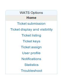 Menu di configurazione di WATS