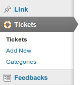 Tab dei ticket di WATS nel backend di WordPress