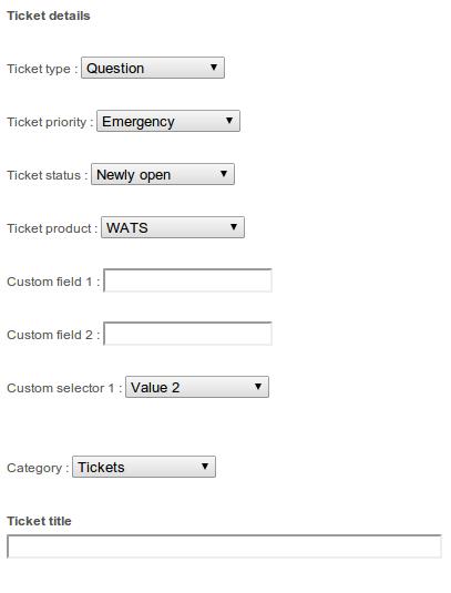 Form per l'invio di ticket