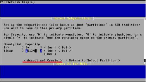 partizione di swap di pfSense