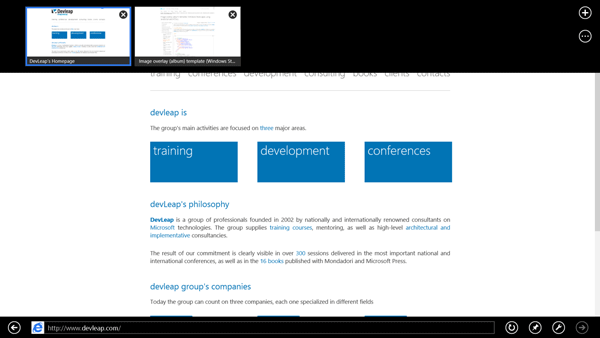 App Bar di Internet Explorer 10