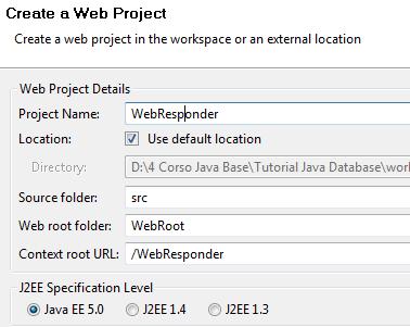 creazione del web project