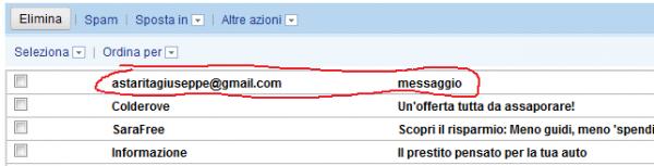 l'email ricevuta