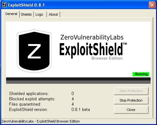 ExploitShield: la schermata principale