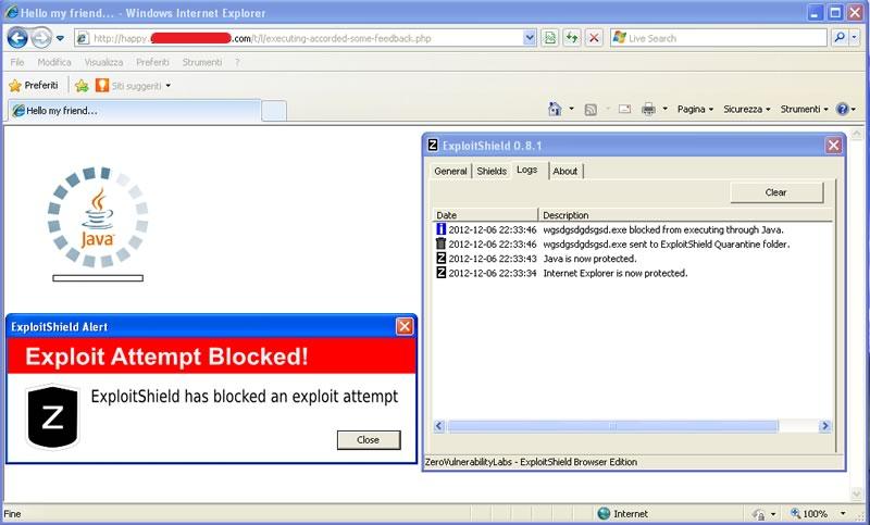 ExploitShield: la schermata di alert
