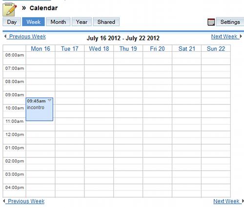 Calendario di SugarCRM