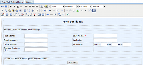 Form per i lead in SugarCRM