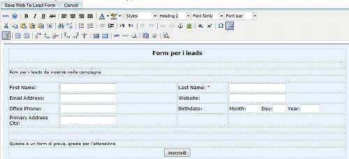 Form per i lead in SugarCRM