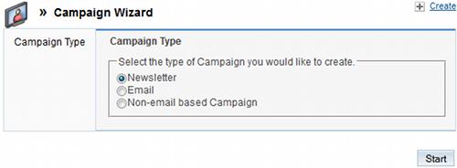 Wizard per la creazione di una campagna