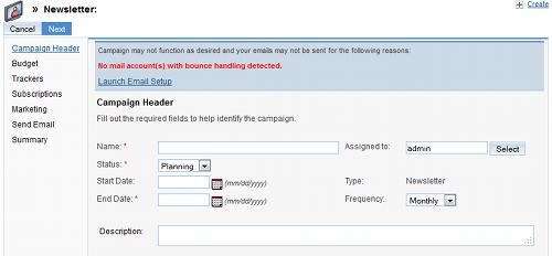 Creazione di una campagna email