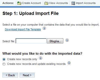 Upload del file di importazione di SugarCRM
