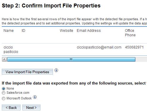 Dati letti dal file .csv