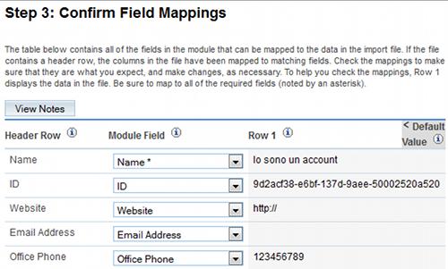 Mappatura dei campi
