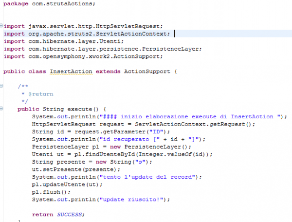 un estratto del codice di InsertAction