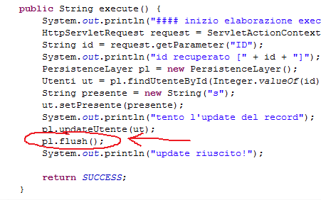 un estratto di insertAction, con l'inserimento del flush() sul persistence layer