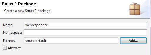 creazione di uno struts package
