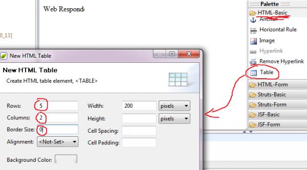 palette: aggiunta table