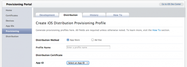 Provisioning App Store