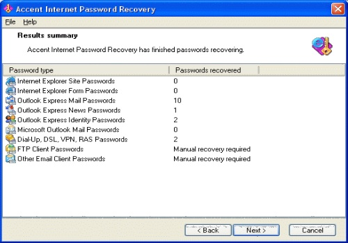 Accent Internet Password Recovery