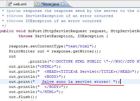 modifiche all'html prodotto nella servlet Storer