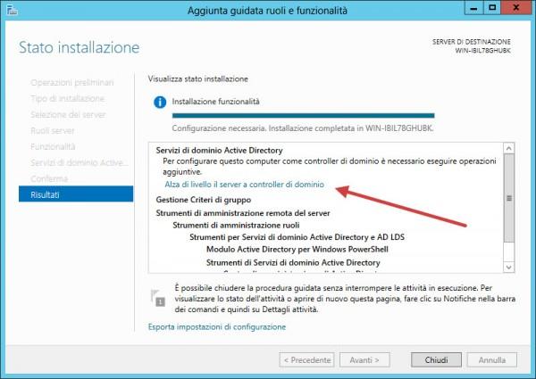 Promozione del server come domain controller