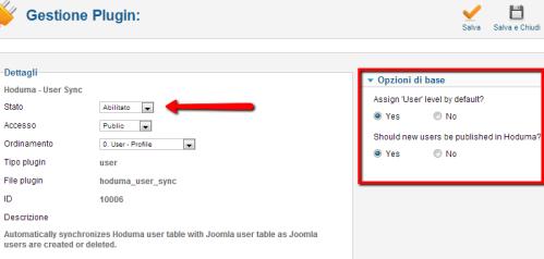 Dialogo di User Sync in Hoduma per Joomla