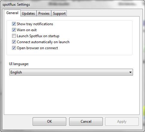Spotflux: le opzioni di configurazione
