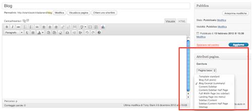 Figura 5. Creazione della homepage di un blog con Responsive