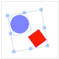 Rettangolo e cerchio raggruppati (Controlli visibili)