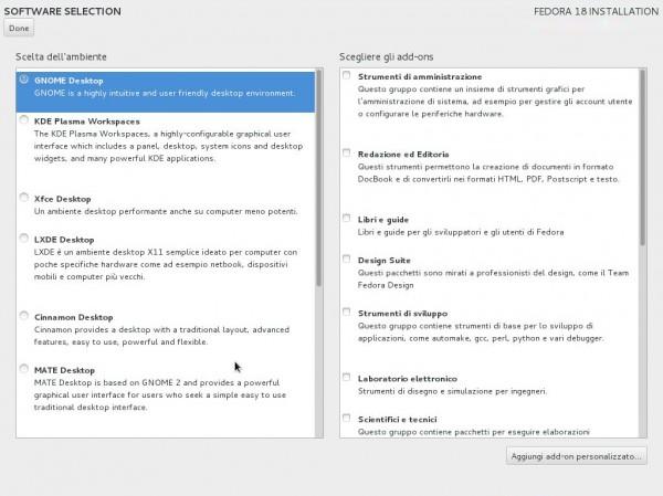 installazione desktop environment fedora18