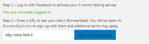 Inserire l'URL da testare