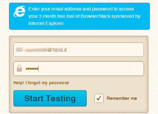 Login su BrowserStack