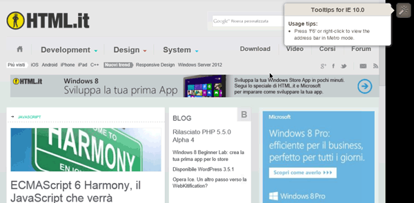 Test di HTML.it con IE10 su Windows 8