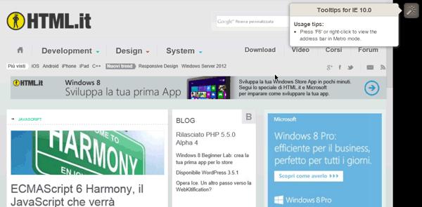 Test di HTML.it con IE10 su Windows 8